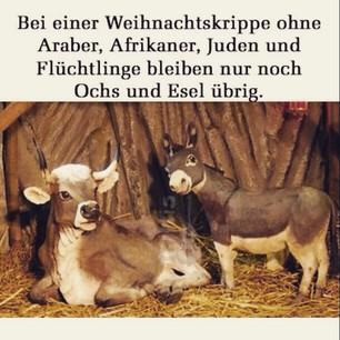 Bei einer Weihnachtskrippe ohne Araber, Afrikaner, Juden und Flüchtlinge bleiben nur noch Ochs und Esel übrig.