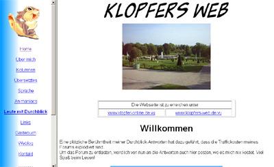 Klopfers Web mit dem 2002er Design