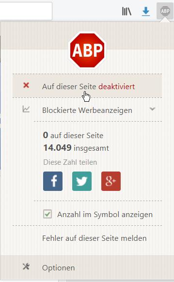 AdBlock Plus - Für diese Seite deaktiviert