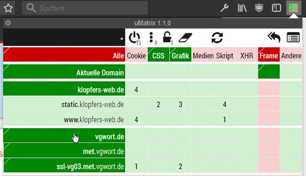 Die VG-Wort-Reihen können durch mehrere Klicks erlaubt werden